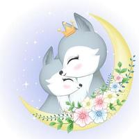 Cute couple Fox and moon vector