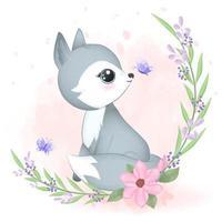 pequeño zorro y marco de flora vector