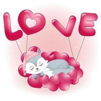 Fox sleeping on hearts vector