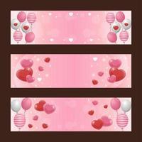 Elegante conjunto de banner de San Valentín con globo de corazón rosa suave y rojo vector