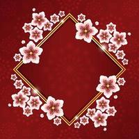 hermosa flor de cerezo con marco de oro rojo y patrón de flores vector