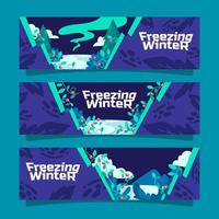 Floral Freezing Winter Banner vector