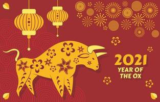 Golden Ox 2021 Chinese New Year vector