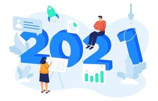 Happy New Year 2021 Business Goals Concept vector
