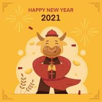 Cute Golden Ox in Chinese Suit vector