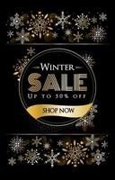 Black Color with Gold Snowflake vector