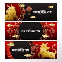 colección de carteles de año nuevo chino vector