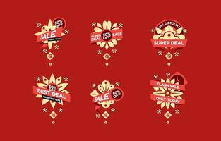 Chinese New Year Sale Labels vector