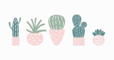conjunto de ilustración de vector de cactus