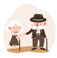 Senior citizen couple making a pinky promise vector