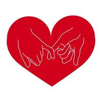 pinky promise hand gesture with heart vector