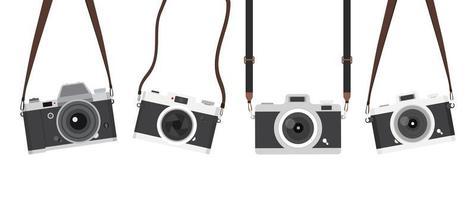 cámara vintage colgante con juego de correas vector