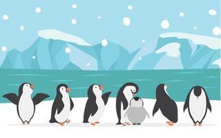 familia feliz de pingüinos al aire libre vector