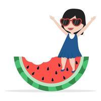 girl sitting on watermelon vector