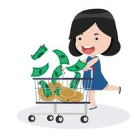 girl with a shopping cart and money vector