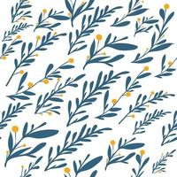 Natural leaves and herbs seamless pattern background vector