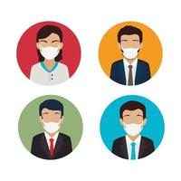 group of business people using face mask vector