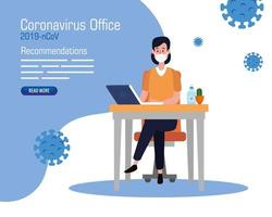 campaign of recommendations of 2019 ncov at office with businesswoman and icons vector