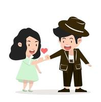 happy couple making a pinky promise vector