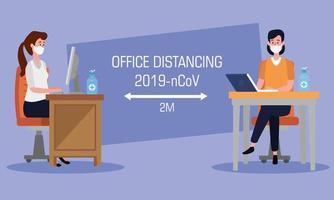 campaña de distanciamiento social en la oficina para covid 19 vector