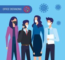 campaña de distanciamiento social en oficina para covid 19 con empresarios vector