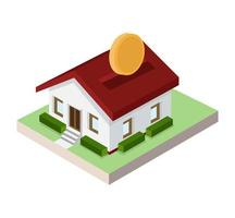isometric Little house piggy bank with coin vector