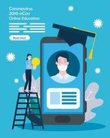 online education graduate with icons vector
