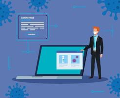businessman searching covid 19 information online in laptop computer vector