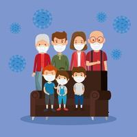 linda familia con máscara facial con sofá y partículas 2019 ncov