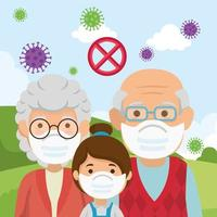 grandparents with granddaughter using face mask in landscape vector