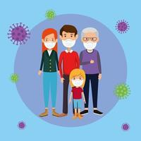 family members using face mask with particles 2019 ncov vector