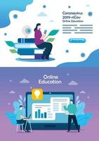 set scenes of education online for 2019 ncov vector