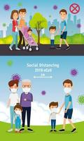 set scenes of families using face mask in landscape vector