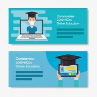 set scenes graduation of education online for 2019 ncov vector