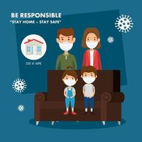 stay at home campaign with parents and children vector