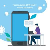 woman studying online with smartphone and laptop vector