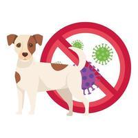 perro con partículas covid 19 en señal prohibida vector