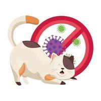 lindo gato con partículas covid 19 en señal prohibida vector