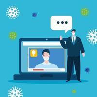 educación tecnología en línea con hombres e iconos vector