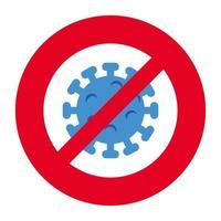 campaña de stop 2019 ncov con partícula en señal prohibida vector