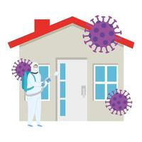 person with biohazard suit and facade house vector