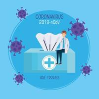 doctor sitting in box tissue with particles 2019 ncov vector
