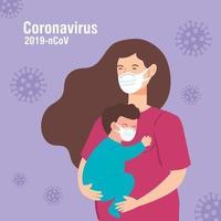 mujer y niño usando mascarilla con partículas 2019 ncov