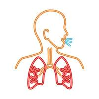 lungs disease coronavirus, infection of lungs particles in the human, line style vector