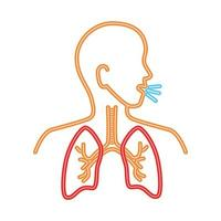 human inner organ in chest, line style vector