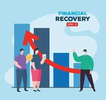 global financial recovery of market after covid 19, people with statistic and business icons, vector