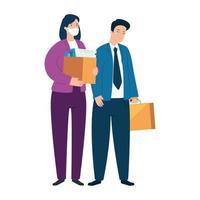 pareja concepto de desempleo, trabajadores de la empresa, de la crisis del coronavirus covid 19 vector