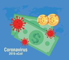 billetes en efectivo y monedas con partículas 219 ncov