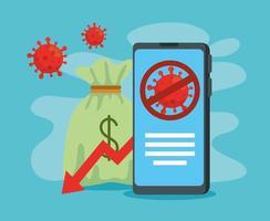 coronavirus 2019 ncov impact global economy, covid 19 virus make down economy, world economic impact covid 19, money bag with smartphone vector