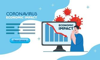 coronavirus 2019 ncov impact global economy, covid 19 virus make down economy, world economic impact covid 19, man and computer with down inforgraphic vector